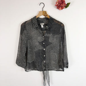 [CHICO'S] Button Up Cropped Circle Print Top